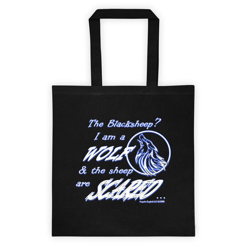 I am a Wolf with Indigo Shadow Black Tote Bag (TS)