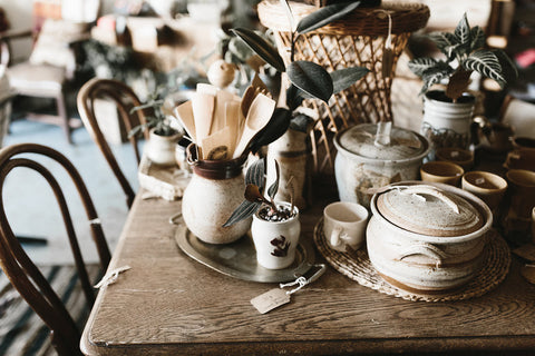 Beautiful found vintage ceramics and kitchen wares.