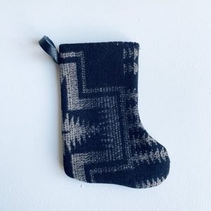 "Mini Holiday Stocking- Pattern ""Mini Chief Joseph""- Pendleton Wool and Cotton"