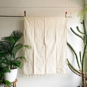 Natural Woven Throw With Fringe