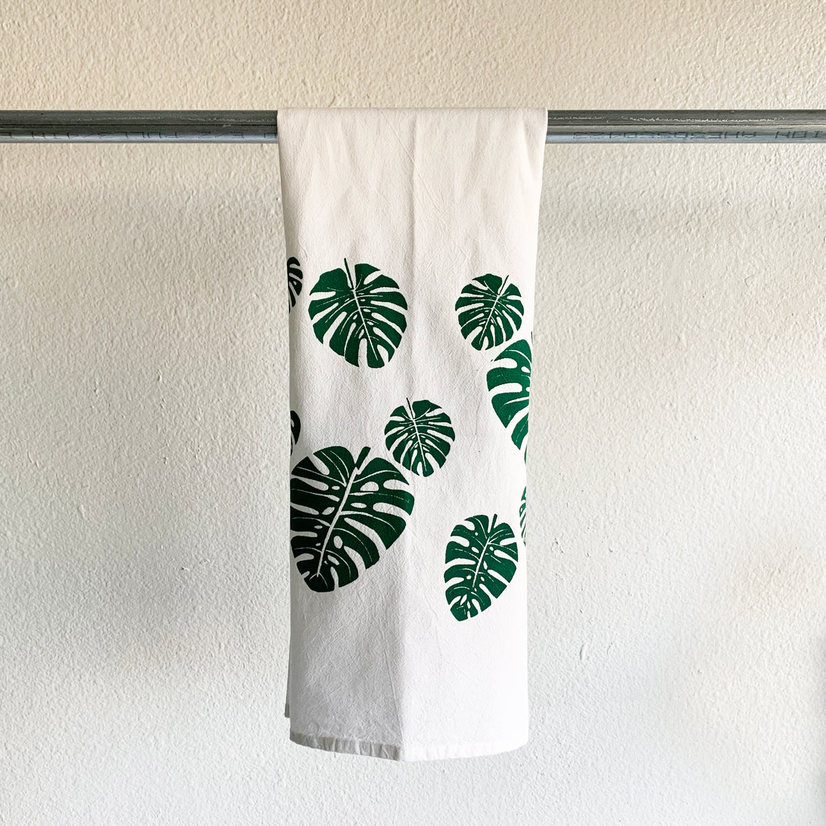 Monstera Leaf Hand Printed Tea Towel