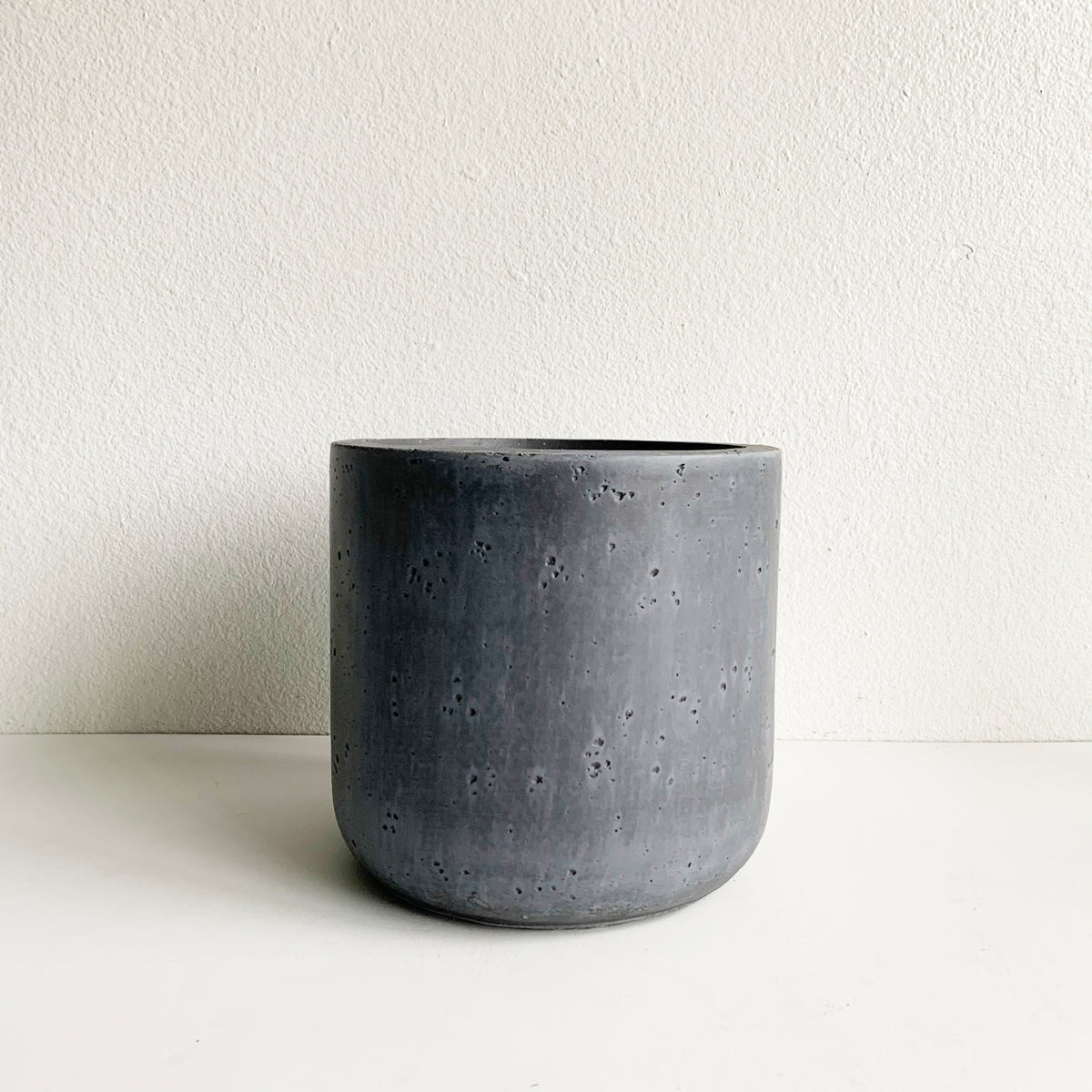 "10.5"" Grey Cylindrical Pot"
