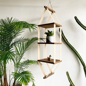 Vintage Canvas and Wood Hanging Shelf