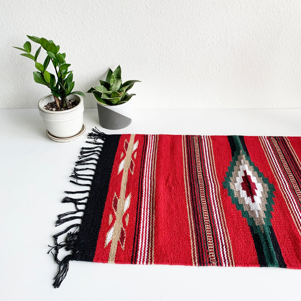 Black Fringe Rug in Red