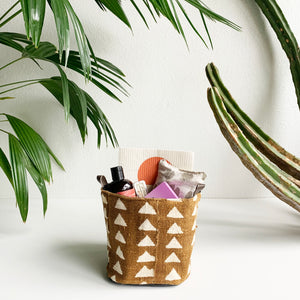 Yellow Mud Cloth Gift Bucket- Shippable