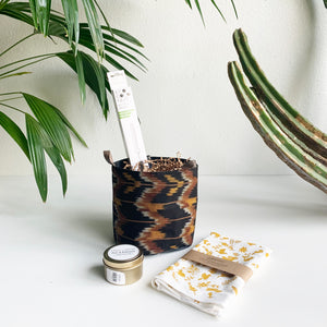 Black Ikat Gift Bucket- Shippable