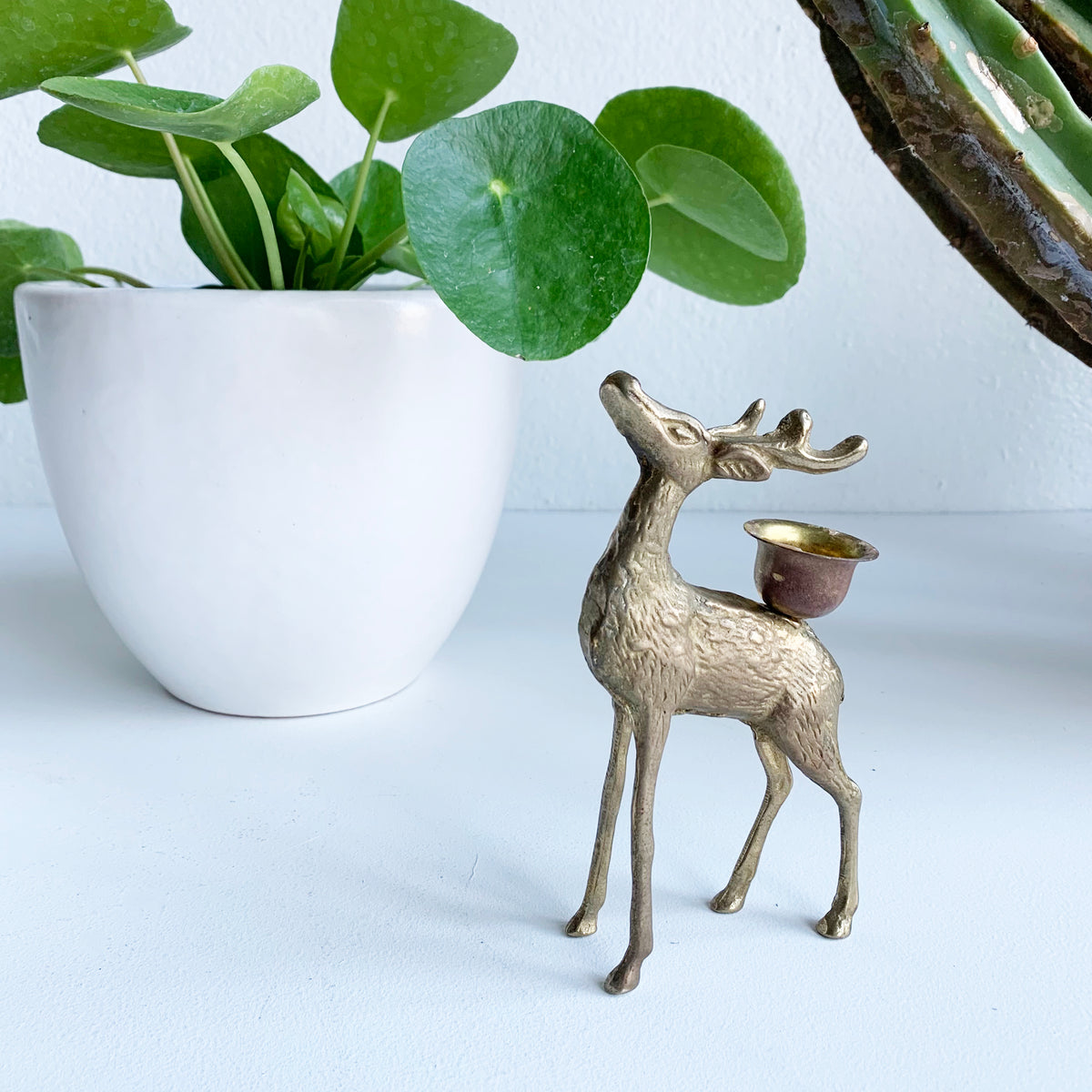 Vintage Brass Doe Candle Holder