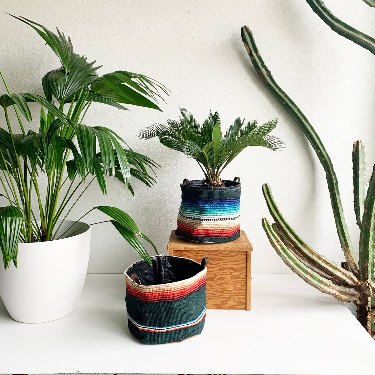 "11"" Bucket Made From Forest Green Mexican Blanket"