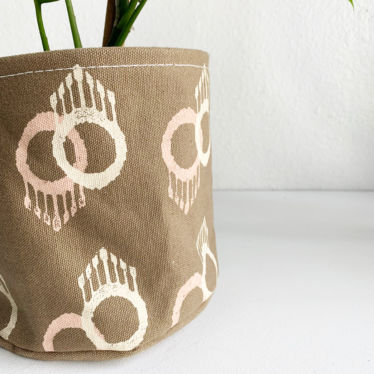 "6.5"" Bucket Planter in Our Handprinted ""Ojo"" Fabric"