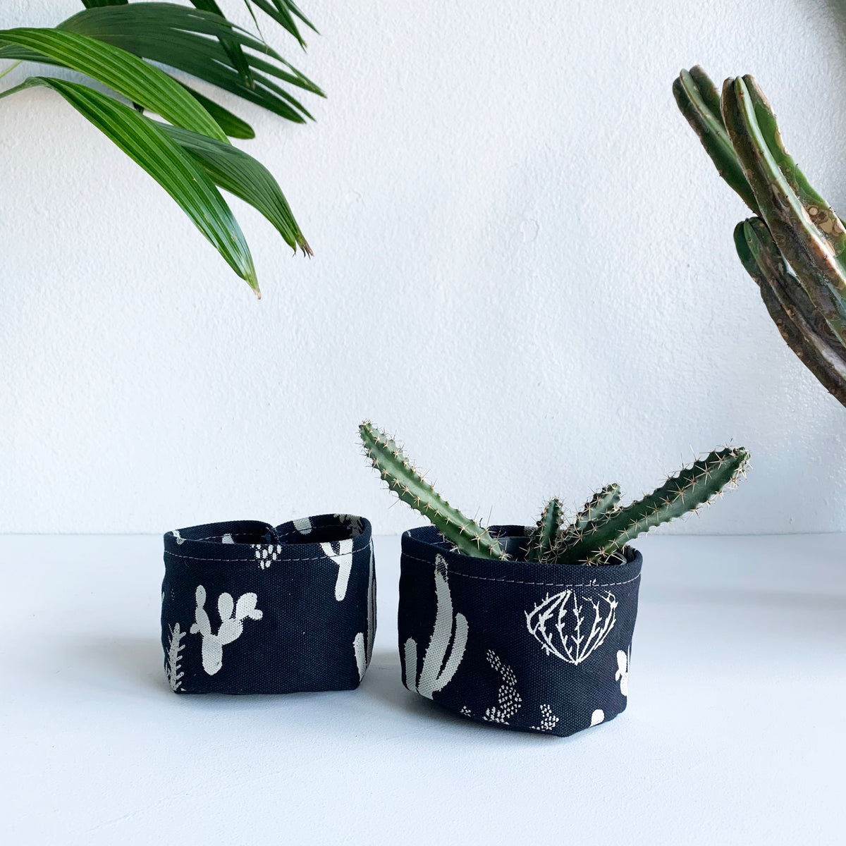 "4"" Unlined Fabric Bucket-Cactus In Black"