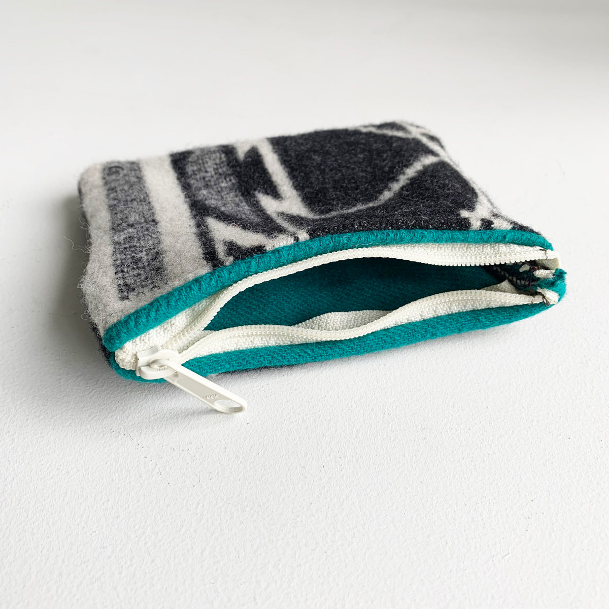 Small Zip Bag made From Wool Scrap