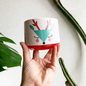 "4""Reindeer Face Pot"