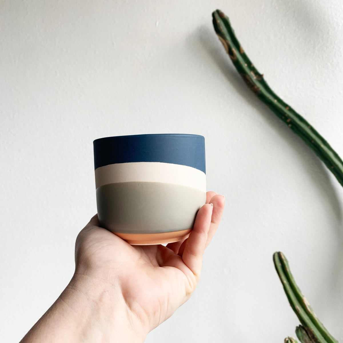 "3.5"" Pot in Blue, White and Grey"