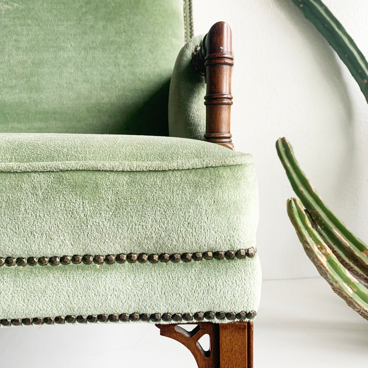 Antique Minty Green Plush Arm Chair