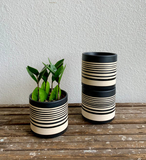 "Striped Black and White Pot 4.5"" x 4.5""- Local pick up or delivery only"
