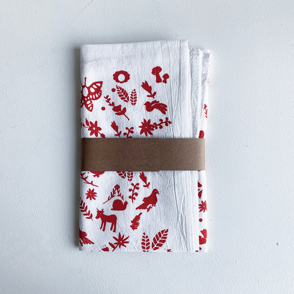 Red Otomi Printed Tea Towel