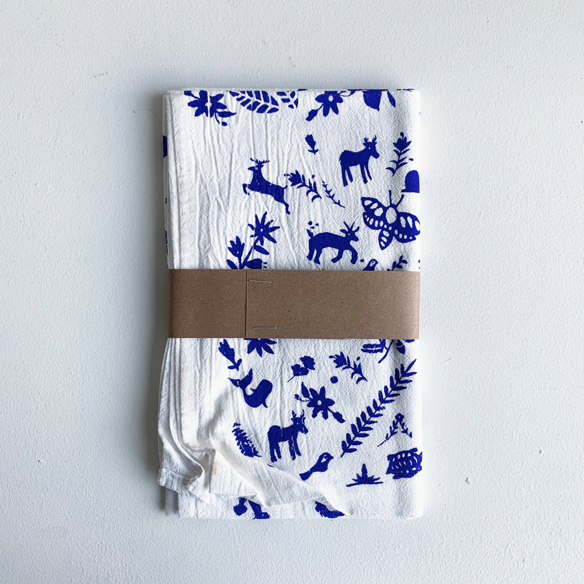 Cobalt Blue Otomi Printed Tea Towel