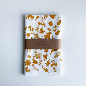 Mustard Yellow Otomi Printed Tea Towel