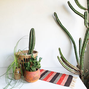 Red Brown & Cream Woven Table Runner