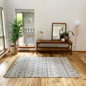 White and Grey Modern Turkish Rug