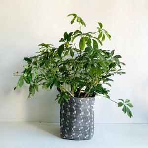 "11"" Bucket Planter Made from  Deadstock Grey Ikat Fabric"