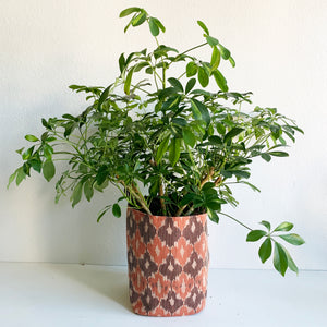 "11"" Bucket Planter Made from Deadstock Coral & Mauve Ikat Fabric"