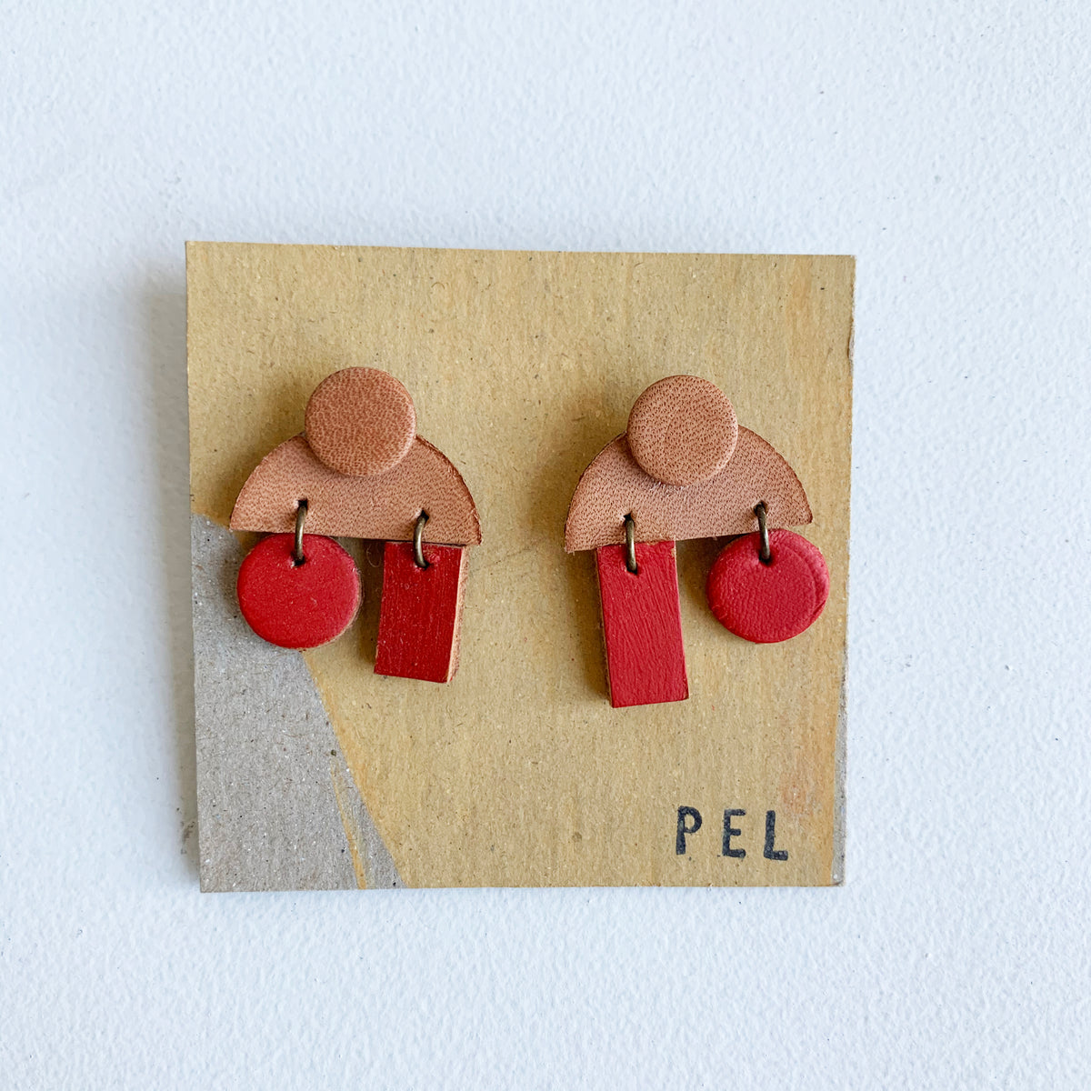 'PEL' Earrings: Red & Tan Semi-Circles