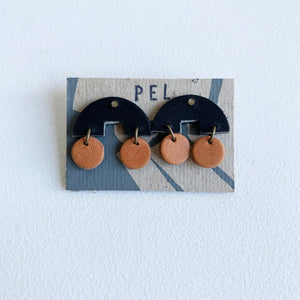 'PEL' Earrings: Black Arches Tan Rounds