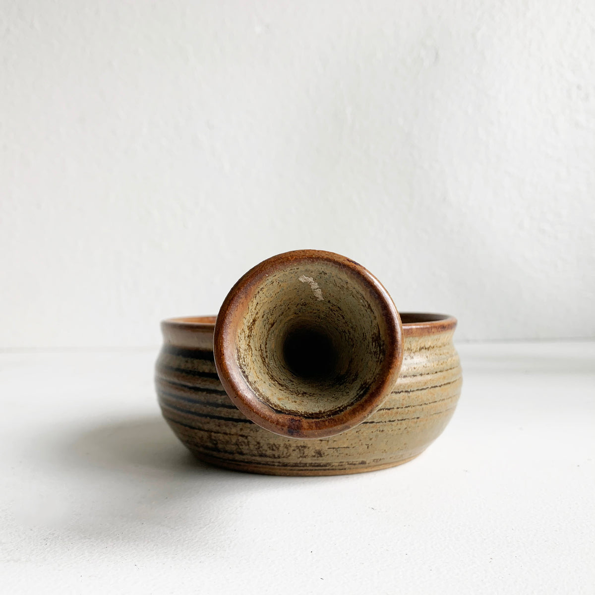 Pair of Tan & Brown Tea Bowls