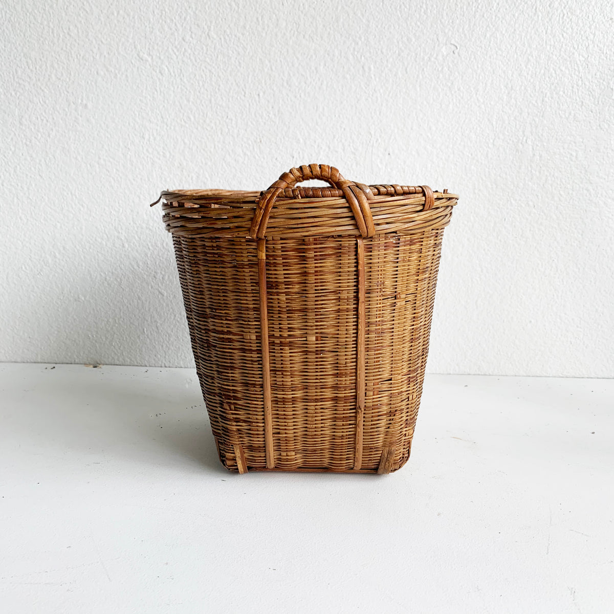 Vintage Basket with Square Bottom & Handles