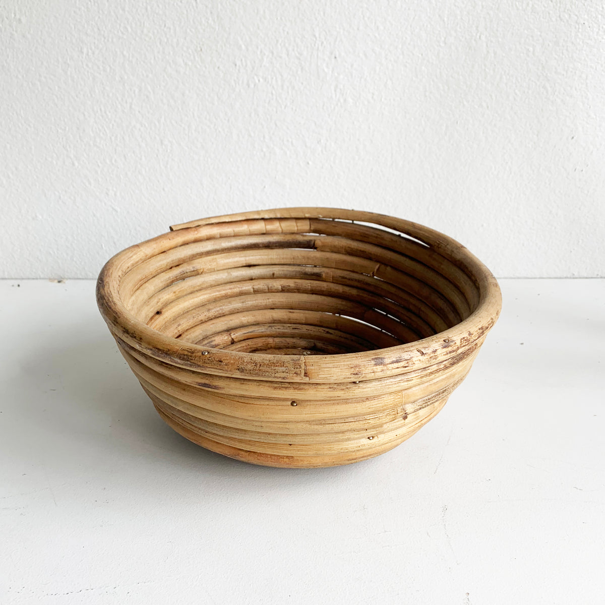 Coiled Vintage Bamboo Basket