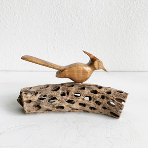 MCM Carved Wood Bird on Cholla Wood