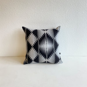Basket Weaver Pattern Wool Pillow in Black