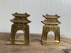 Pair of Vintage Brass Pagoda Bookends