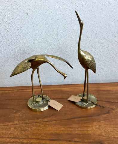 Pair of Vintage Brass Water Birds