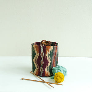 Large Woven Bucket- Domingo Pattern