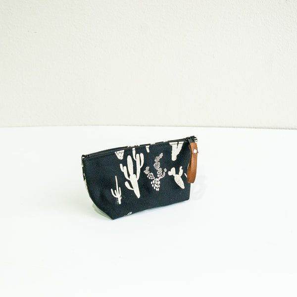 Medium Cosmetic Bag with Cactus Print on Black