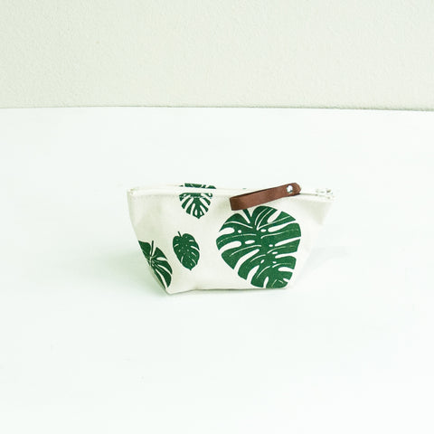 Medium Cosmetic Pouch with Monstera Leaf Print