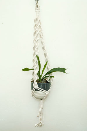 Large Cord White Plant Hanger-Twist Knot