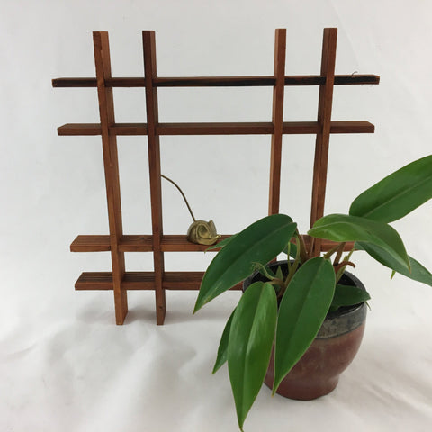 Unique handmade vintage wood shelf in the shape of a hashtag.