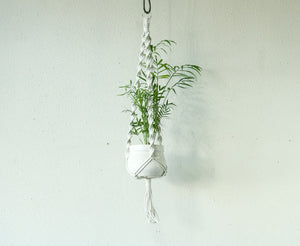 Small Cord White Plant Hanger with Twist Knots
