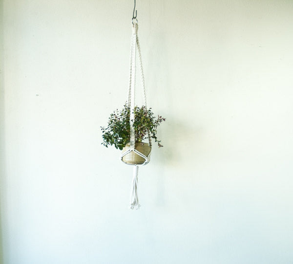 Large Cord White Plant Hanger-Square Knot