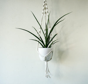 Large Cord White Plant Hanger-Mixed Knot