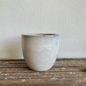 "Rustic Glazed White Pot 7.5""- LOCAL Delivery or Pick-Up ONLY"