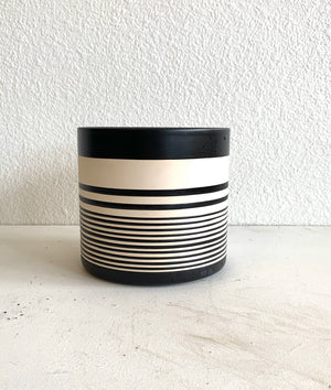 "Striped Black and White Pot 6.5""x 6.5"" Local Pick up or Delivery Only"