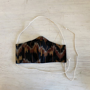 LARGE Black & Mustard Ikat Face Mask