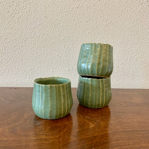 "Small Green Ridged Pot 2.75"" x 2.75"" LOCAL Pick-up or Delivery ONLY"