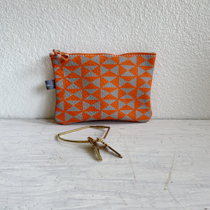Orange Leather Zip Pouch
