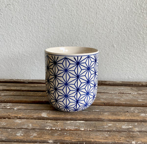 "Blue and White Starburst Pot 4"" x 4.25"" LOCAL Delivery or Pick-up Only"