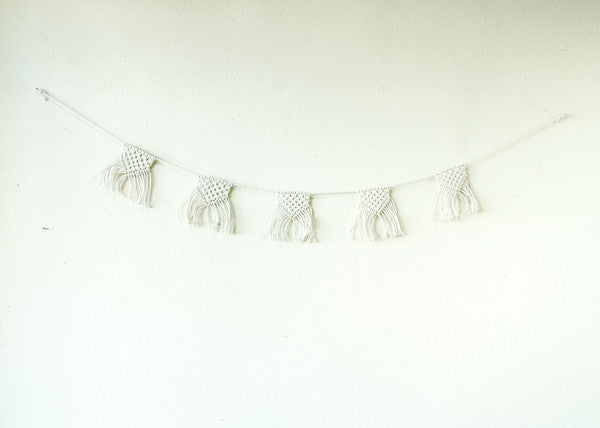 decorative string of macrame pennants